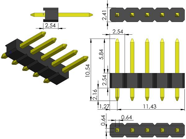 FCI-93992-405HLF-HDRV1X5-2-54mmP-Male-TH