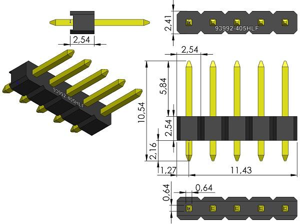 FCI-93992-405HLF-HDRV1X5-2-54mmP-Male-TH-wm