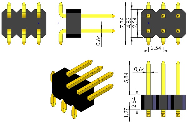 FCI-95157-Series-HDRV-2Rows-2-54mmP-Male-SM