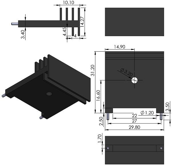 HEATSINK-OHMITE-CSM222-30AE-board-mount-for-TO-22