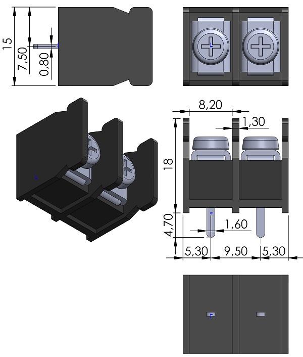 HOW-DER-HD-121-02P-Series-Barrier-Block-Screws-9-5mmP