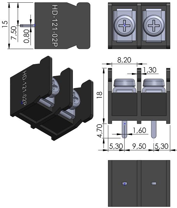 HOW-DER-HD-121-02P-Series-Barrier-Block-Screws-9-5mmP-wm