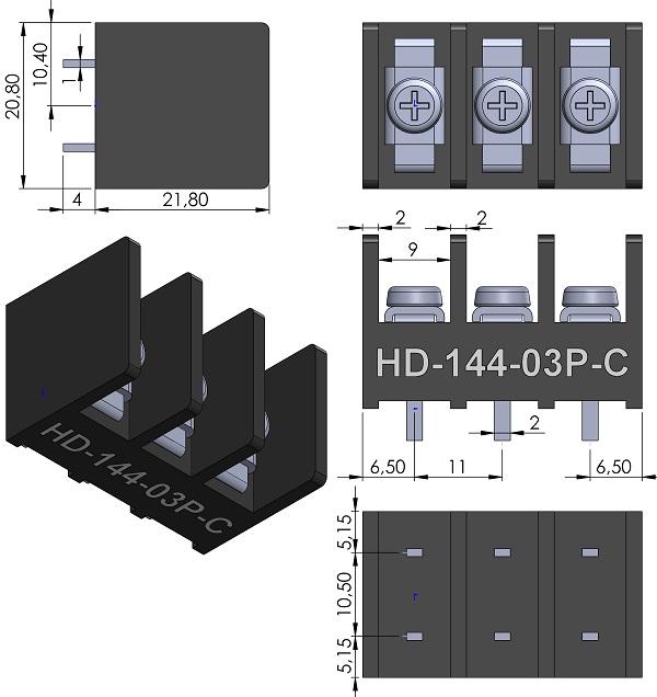 HOW-DER-HD-141-3P-C-Series-Barrier-Block-Screws-11mmP-wm