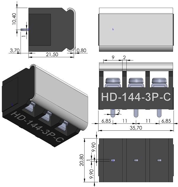 HOW-DER-HD-144-3P-C-Series-Barrier-Block-Screws-11mmP-wm