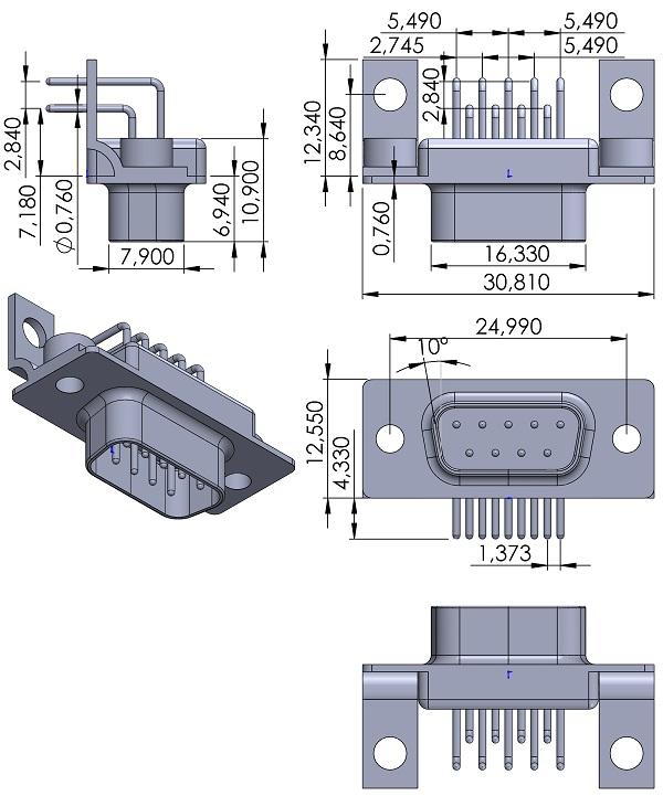ITT-Cannon-DE-9P-1A7N-K87-DSUB-9pins-Male-TH-RA