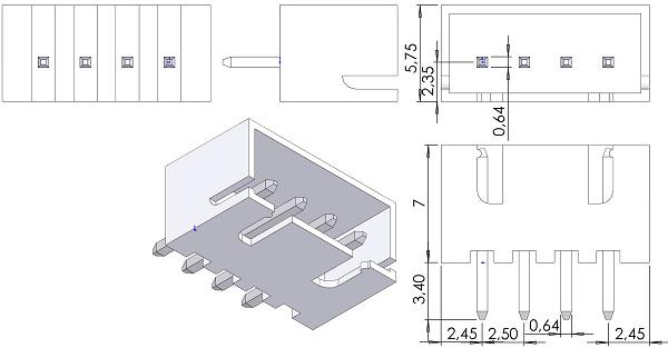 JST-B4B-XH-A-LFSN-HDRV-Shrouded-1-Row-2-5mmP-TH