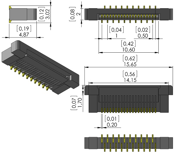SAMTEC-ZF5-20-03-T-WT-Zero-Insertion-Force-0-5mmP