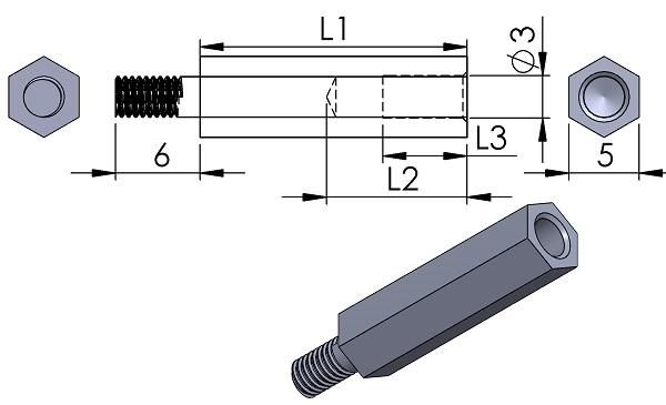 Spacer-Harwin-R30-300-Series-M3-Hexagonal-Male-Fimale