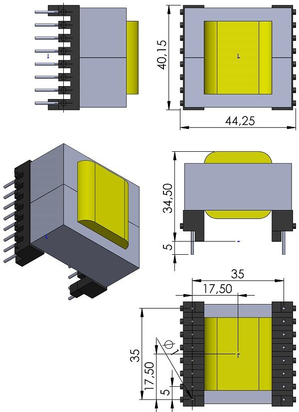 Transformer-TDK-BEER42-1116CPHFR-H-TH