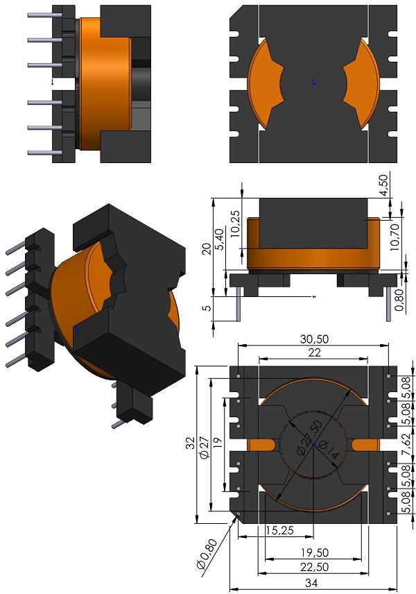 Transformer-TDK-PQ32-20-Cores-B65879A-Series-Coil-former-B65880E-Series-TH