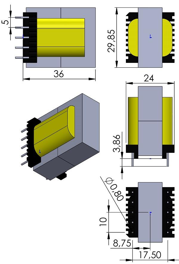 Transformer-Wurth-ER28-17-Core-150-2504-10Pins-THT-V