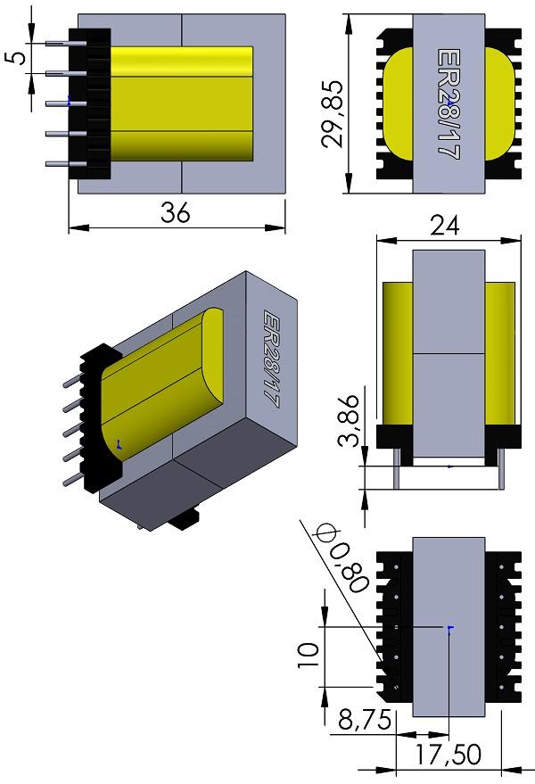 Transformer-Wurth-ER28-17-Core-150-2504-10Pins-THT-V-wm