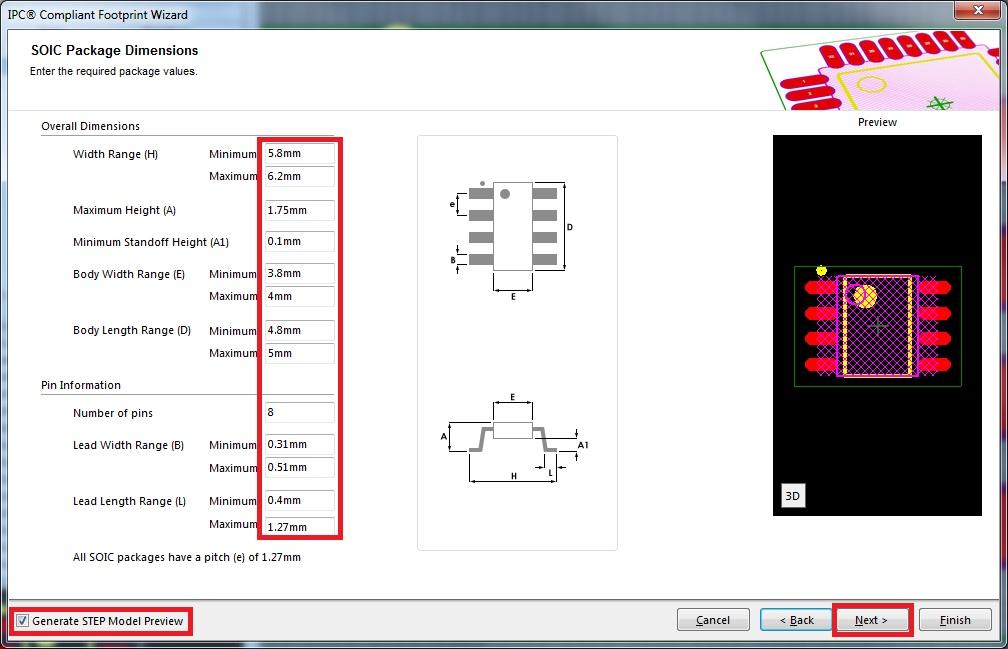 Create a Footprint using IPC Compliant Footprint Wizard