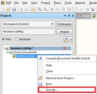 Create a new Integrated Library, add Schematic and PCB